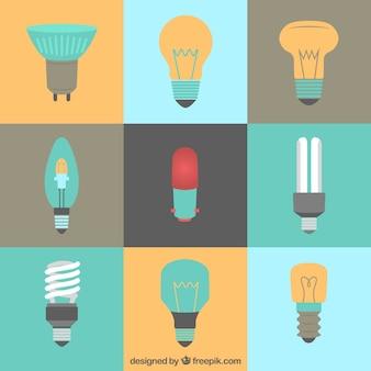 Tipos de lâmpadas em estilo plano