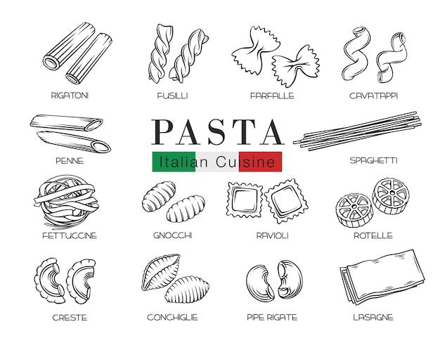Tipos de macarrão italiano ou ilustração de contorno de macarrão