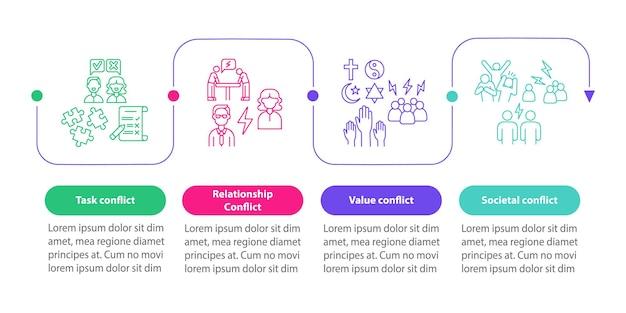 Tipos de modelo de infográfico de vetor de conflito. elementos de design de estrutura de tópicos de apresentação de comunicação. visualização de dados em 4 etapas. gráfico de informações do cronograma do processo. layout de fluxo de trabalho com ícones de linha