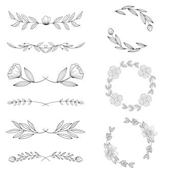 Tipos de molduras e divisórias desenhadas à mão ornamentais