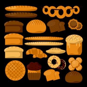 Tipos de produtos de padaria ou pastelaria.