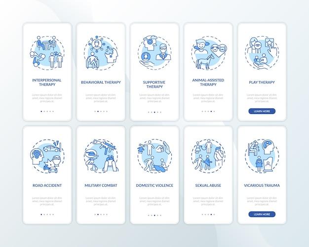 Tipos de psicoterapia e motivos de ptsd na tela da página do aplicativo móvel com conceitos definidos