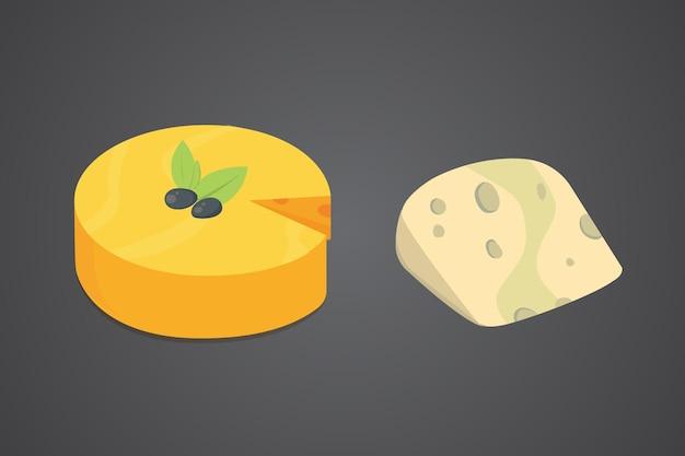 Tipos de queijo. ícones de ilustração realista de estilo moderno simples. parmesão isolado ou queijo cheddar fresco.