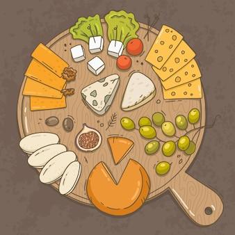 Tipos de queijo na ilustração da placa de madeira