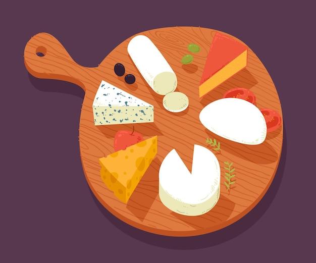 Tipos de queijo na placa de madeira ilustrados