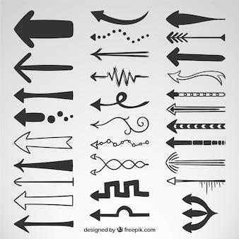 Tipos de setas desenhadas mão
