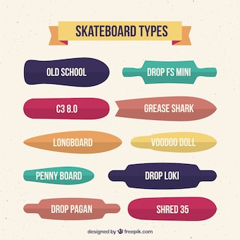Tipos de skate em design plano