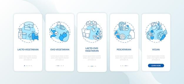 Tipos de tela de página de aplicativo móvel de integração de dietas vegetarianas com conceitos.