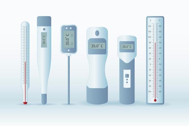 Tipos de termômetro de design plano