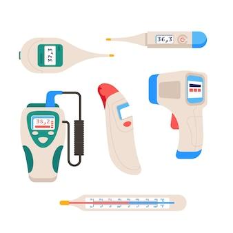 Tipos de termômetro em design plano