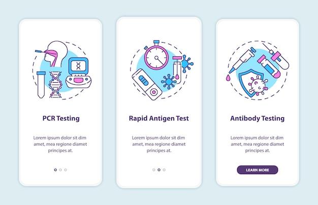 Tipos de teste da covid na tela da página do aplicativo móvel com ilustrações de conceitos