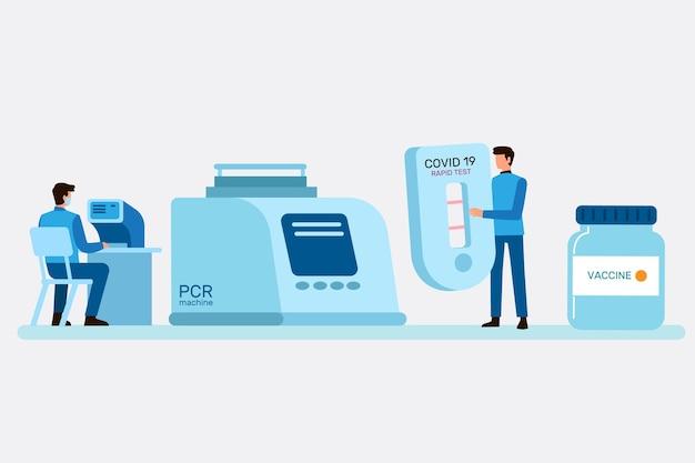 Tipos de teste de coronavírus com pesquisadores