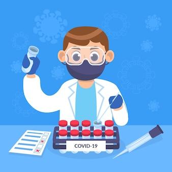 Tipos de teste de coronavírus e cientista