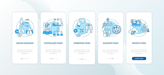 Tipos de trabalho em equipe de integração da tela da página do aplicativo móvel com o conjunto de conceitos. parceiro de negócios. delegação de atribuição de instruções gráficas de 5 etapas. modelo de vetor de interface do usuário com ilustrações coloridas rgb