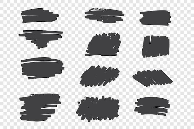 Tipos de traços de lápis preto mão desenhado conjunto