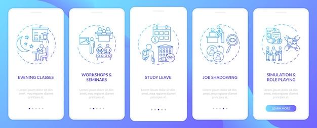 Tipos de treinamento de funcionários na tela da página do aplicativo móvel com conceitos. aulas noturnas, estudo remunerado com licença etapas passo a passo. modelo de iu com cor rgb
