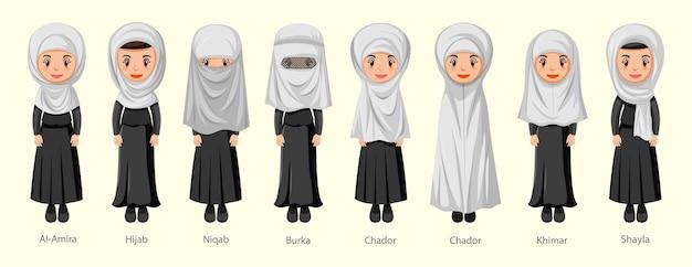 Tipos de véus islâmicos tradicionais femininos em personagem de desenho animado