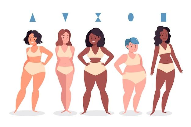 Tipos desenhados de formas do corpo feminino