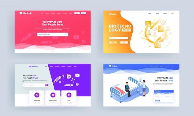 Tipos diferentes médicos ou cuidados de saúde conceito baseado landing page design.