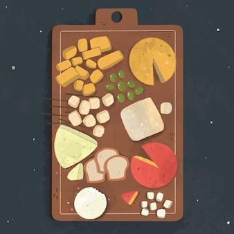 Tipos ilustrados de queijo em tábua de madeira