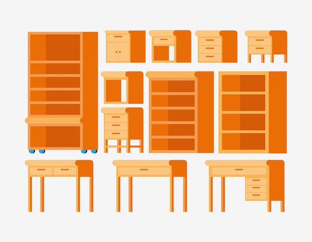Tipos isolados de móveis de madeira