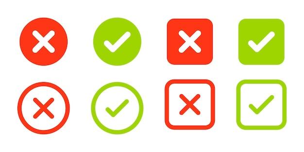 Tiquetaque verde ícones de vetor de cruz vermelha marcas de carrapato e cruz aceito rejeitado aprovado reprovado