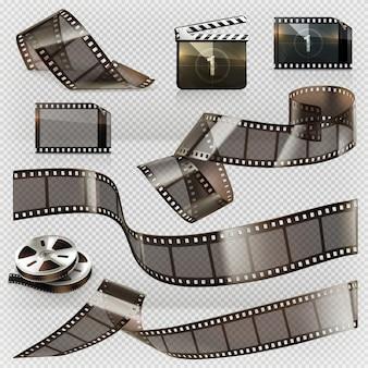 Tira de filme antigo com conjunto de ícones de transparência