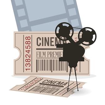 Tira do bilhete do filme da câmera do cinema