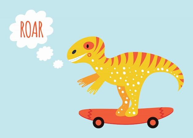 Tiranossauro dinossauro bonito no skate. imprimir para cartaz de crianças com rugido de texto. amarelo e laranja.