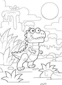Tiranossauro dinossauro pré-histórico bonito dos desenhos animados para colorir ilustração engraçada de livro