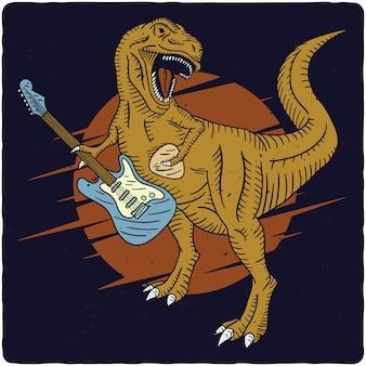 Tiranossauro tocando guitarra elétrica