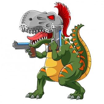 Tiranossauro usando capacete espartano com duas armas de ilustração