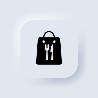 Tirar o ícone da linha de sacola de comida. refeição diária. serviço de almoço para viagem. botão da web da interface de usuário branco neumorphic ui ux. neumorfismo. vetor eps 10.