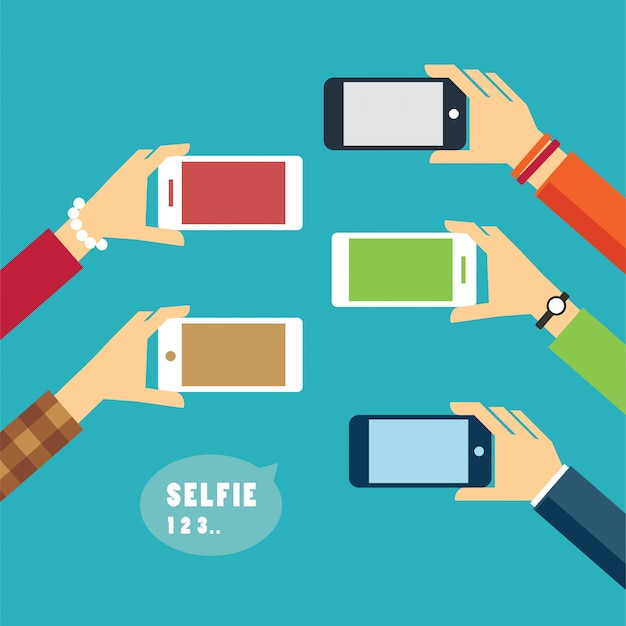Tirar uma foto de selfie design plano