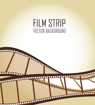 Tiras de filme velho marrom sobre o vetor de fundo marrom