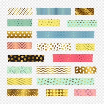 Tiras de fita washi colorido, dourado, elementos de scrapbook