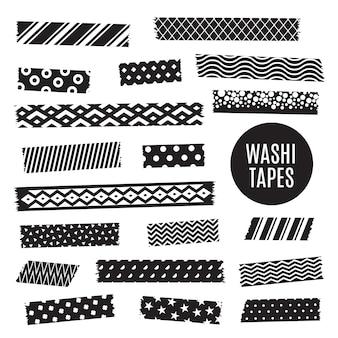 Tiras de fita washi preto e branco