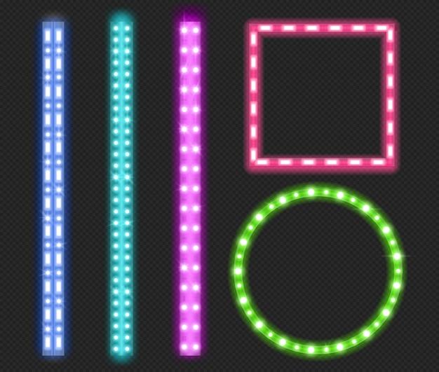Tiras de led, fitas de luz de neon, bordas e molduras