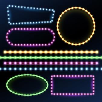 Tiras de néon e led e quadros de borda de luz de diodo definido.