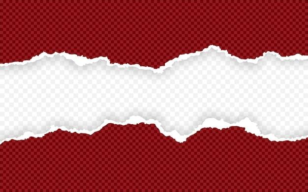 Tiras de papel quadradas horizontais rasgadas