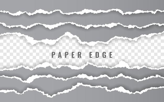 Tiras de papel quadriculado rasgado