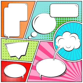 Tiras de quadrinhos ou vinhetas no estilo pop art com bolhas do discurso em branco