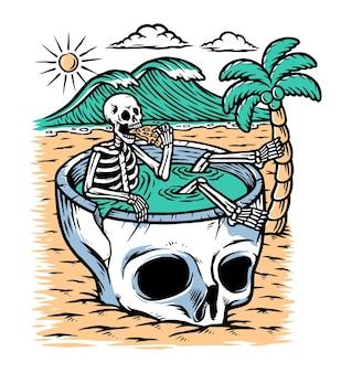 Tire um tempo para relaxar na ilustração da praia