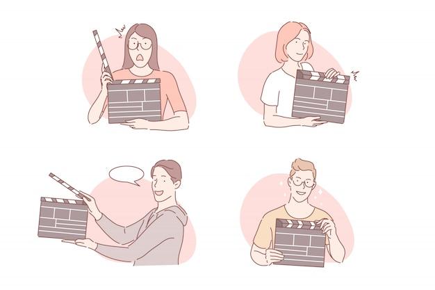 Tiro, claquete, conceito de conjunto de produção de filme