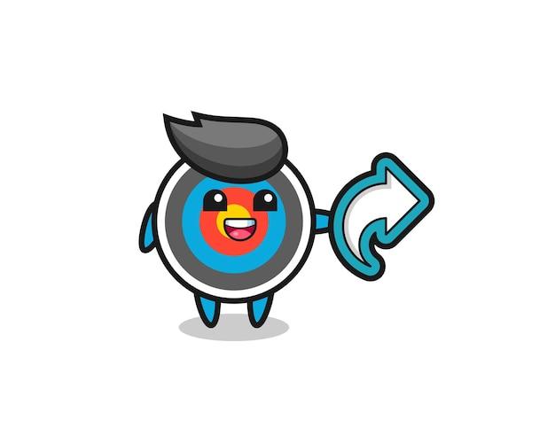 Tiro com arco alvo fofo possui símbolo de compartilhamento de mídia social, design de estilo fofo para camiseta, adesivo, elemento de logotipo