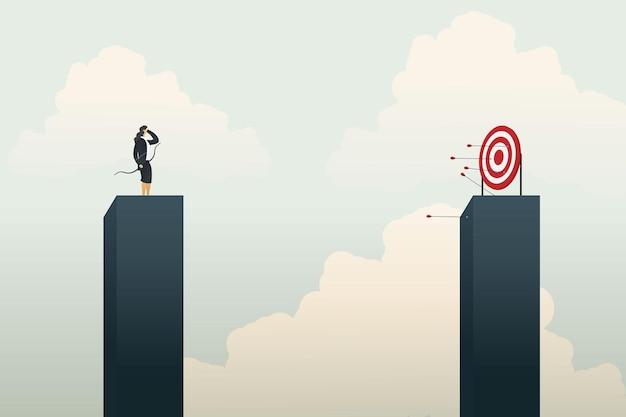 Tiro com arco de empresária errando o alvo e sem sucesso. ilustração vetorial