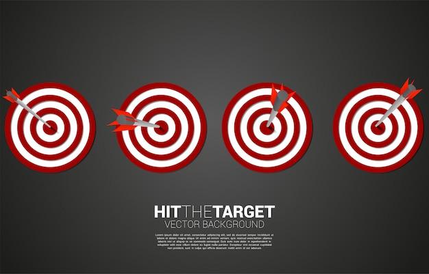 Tiro com arco flecha acertou no centro do alvo. conceito de negócio de alvo e cliente de marketing. missão e objetivo de visão da empresa.