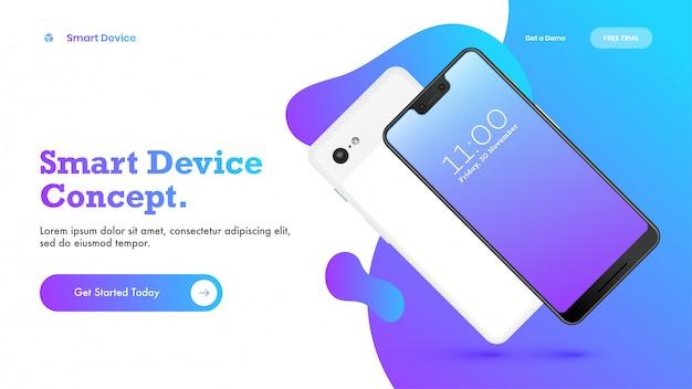 Tiro de herói ou design de página de destino com smartphone para dispositivo inteligente