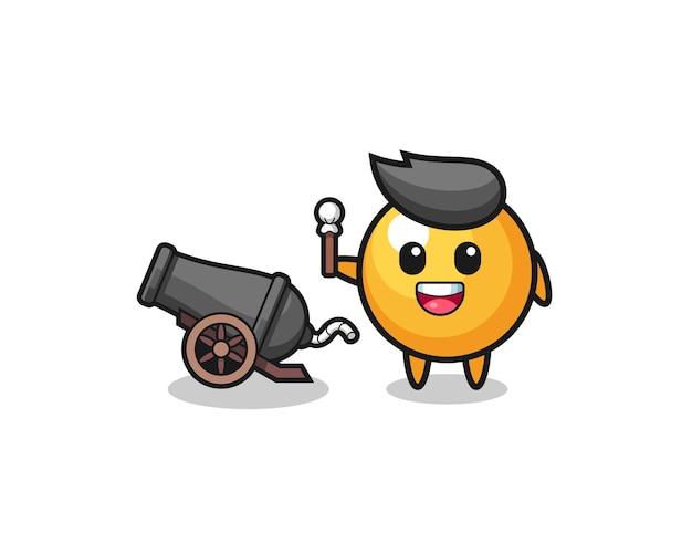 Tiro de pingue-pongue fofo usando canhão, design fofo