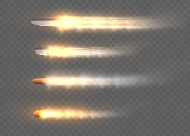 Tiros, balas em movimento, trilhas militares de fumaça.